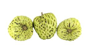 Fresh Custard Apple or Ripe Sugar Apple Fruit  Annona, sweetsop Isolated on white background on with clipping path Stock Photo