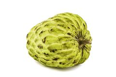 Fresh Custard Apple or Ripe Sugar Apple Fruit  Annona, sweetsop  on white background on with clipping path / well-branch Stock Photos