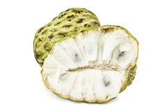 Fresh Custard Apple or Ripe Sugar Apple Fruit  Annona, sweetsop  on white background on with clipping path / well-branch Royalty Free Stock Photos