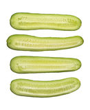 Fresh cut cucumber isolated on white background, close up Stock Photo
