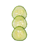 Fresh cut cucumber isolated on white background, close up Royalty Free Stock Photos