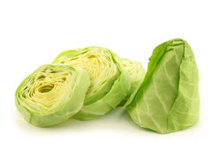 A fresh cut green pointed cabbage Stock Photo