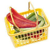 Fresh Cut Green and Red Bell Peppers Royalty Free Stock Image