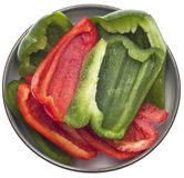 Fresh Cut Green and Red Bell Peppers Stock Photos