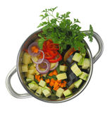 Fresh cut ingredients for vegetable soup Royalty Free Stock Photos