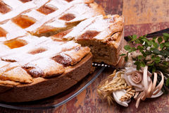 Fresh Cut Of Italian Pastiera Stock Photos