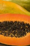Fresh cut juicy tropical papaya mamao fruit with seeds at Brazil Royalty Free Stock Image