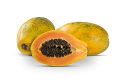 Fresh cut juicy tropical papaya mamao fruit with seeds at Brazil Royalty Free Stock Images