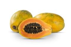 Fresh cut juicy tropical papaya mamao fruit with seeds at Brazil Royalty Free Stock Images