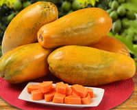 Fresh cut juicy tropical papaya mamao fruit with seeds at Brazil Royalty Free Stock Photos