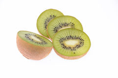 Fresh cut kiwi isolated on white Royalty Free Stock Photography
