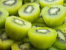 Fresh Cut Kiwi in Storefront ready to serve. Slices of Kiwi fruit closeup ready to serve stock image