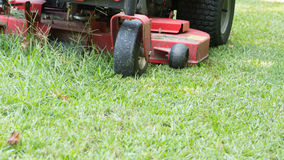 Fresh cut lawn and mower. Zero turn half finished Royalty Free Stock Images