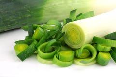 Fresh cut leek. On a white background Stock Image
