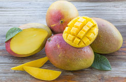 Fresh Cut Mangoes Royalty Free Stock Photography