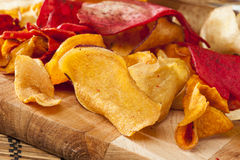 Fresh Cut Organic Vegetable Chips Royalty Free Stock Images