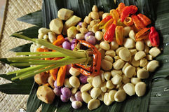 Fresh cut red chili peppers garlic coriander from Bali market Royalty Free Stock Photo