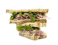 Fresh cut sandwich with ham salad Stock Photo