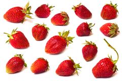The fresh cut strawberries set on a white Royalty Free Stock Photography