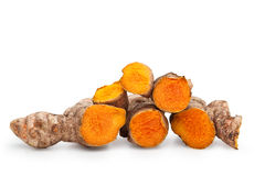 Fresh Cut Turmeric Isolated Stock Photo