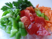 Fresh cut vegetables. It is very healthy to eat fresh cut vegetables on a diet Royalty Free Stock Image