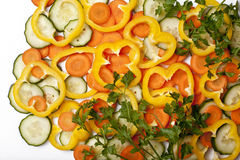 Fresh cut vegetables Stock Images