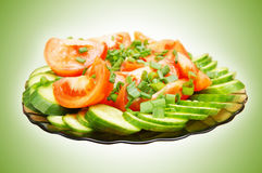 Fresh cut vegetables on a dish Stock Photo