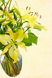 Fresh Cut Yellow Daylilies in a Transparent Water Filled Vase Royalty Free Stock Photos
