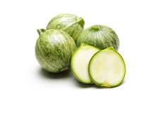 Fresh cutted zucchini isolated on a white background Royalty Free Stock Photo