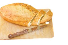 Fresh cutting bread. Isolated Stock Photo
