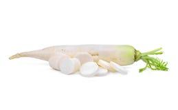 Fresh daikon radish with slice isolated on the white Stock Images