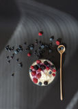 Fresh dairy product cottage cheese with berries in glass bowl with wooden spoon on black table Stock Photography