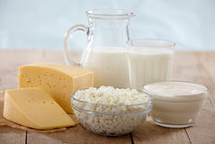Fresh dairy products Stock Images