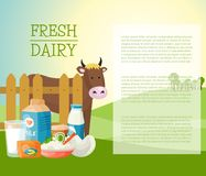 Fresh dairy products banner, poster vector illustration. Organic, quality food. Great taste and nutritional value. Milk stock illustration
