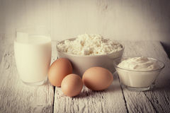 Fresh dairy products and eggs Stock Photography
