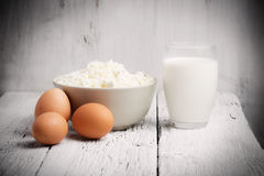 Fresh dairy products and eggs Royalty Free Stock Image