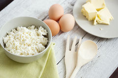 Fresh dairy products and eggs Royalty Free Stock Images