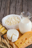 Fresh dairy products. Milk, cheese, butter and cottage cheese with wheat on the rustic wooden background. stock photo