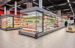 Fresh dairy products ready for sale in supermarket Lenta. SAMARA, RUSSIA - JANUARY 2, 2017: Fresh dairy products ready for sale in supermarket Lenta. One of Stock Images