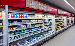 Fresh dairy products ready for sale in supermarket Royalty Free Stock Image
