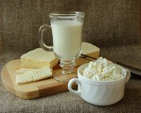 Fresh dairy products on the table Royalty Free Stock Photos