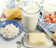 Fresh dairy products Royalty Free Stock Images