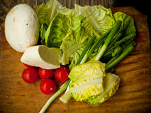 Fresh dairy and vegetables Stock Images