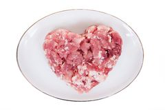 Fresh damp meat on plate insulated Stock Photos