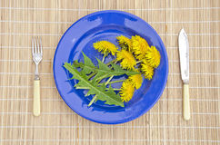 Fresh dandelion leaf and flower in ceramic plate Royalty Free Stock Photo