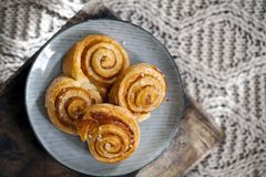 Fresh danish pastries. Danish pastries on the plate photographed from above Royalty Free Stock Photography