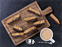 Fresh dark chocolate cookies and coffee for snack Stock Images