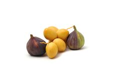 Fresh date fruits and figs. On white Stock Photos