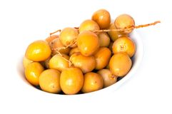 Fresh date in  a white bowl Stock Photos