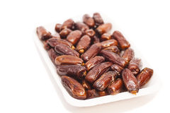 Fresh dates fruits isolated on white Stock Photos